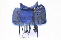 Седло кавалерийское Люкс синего цвета